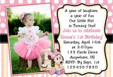 1st Year Birthday Invitation Card Minnie Mouse Invitations 1st Birthday with Images
