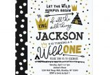 1st Year Birthday Invitation Card Wild One 1st Birthday Invitation Boys King Wild Zazzle Com