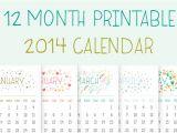 2014 12 Month Calendar Template Printable 2014 Calendar Illustrations On Creative Market
