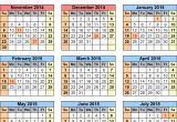 2014 and 2015 Calendar Templates School Calendars 2014 2015 as Free Printable Excel Templates