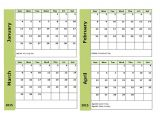 2015 Calendar by Month Template 2015 Four Monthly Calendar Template Free Printable Templates