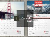 2018 Calendar Templates for Indesign Wall Calendar for 2018 Year Fully Editable Layered