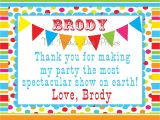 4 X 6 Thank You Cards Carnival Circus Birthday Thank You Card 4 X 6 by
