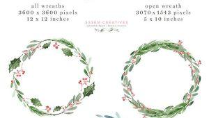 5 X 7 Christmas Card Template Watercolor Christmas Wreath Clipart Christmas Card