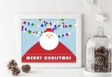 5 X 7 Christmas Cards Printable Holiday Home Decor Merry Christmas with Santa and