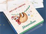 6 X 8 Christmas Photo Cards Lindt Hello Pralinen Lazy Christmas Mit Faultier Und Ihrem Wunschnamen