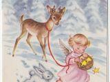 6 X 8 Christmas Photo Cards Vintage Greeting Card Christmas Snow Deer Angel Bunny E587