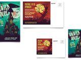 6×4 Postcard Template Haunted House Postcard Template Design