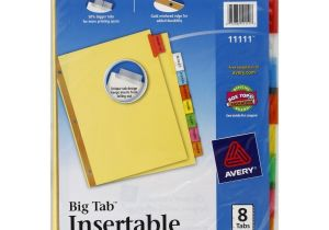 8 Large Tab Insertable Dividers Template Avery Big Tab Insertable Dividers 8 Tabs