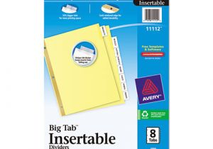 8 Large Tab Insertable Dividers Template Avery Insertable Big Tab Dividers Ave11112 Shoplet Com