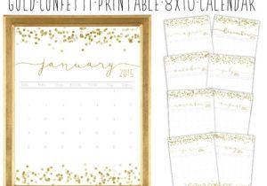 8×10 Calendar Template Gold Confetti Printable 8×10 Calendar 2015 by