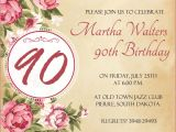 90 Birthday Invitation Templates 90th Birthday Invitation Wording 365greetings Com