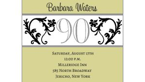 90 Birthday Invitation Templates Elegant Vine Chartreuse 90th Birthday Invitations Paperstyle