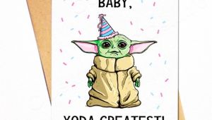 A Cute Happy Birthday Card Baby Yoda Birthday Card D Yoda Happy Birthday Happy