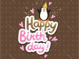 A Cute Happy Birthday Card Happy Birthday Card Background with Cute Penguin