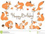 A Cute Happy Birthday Card Happy Birthday Card with Cute Squirrels In A Cartoon Style