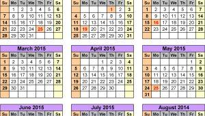 Academic Calendar 2014-15 Template Academic Calendars 2014 2015 as Free Printable Pdf Templates