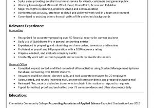 Accounting Student Resume No Experience for 5 Years Experience In Accounting Internship Resume