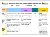 Activity Programme Template Analysis Reflection and Evaluation In Early Childhood