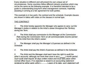 Actors Contract Template Uk Entertainment Management Contract Template Templates
