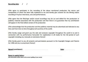 Actors Contract Template Uk Sample Film Release form 9 Download Documents In Pdf