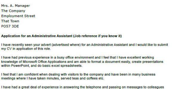 Admin assistant Cover Letter Uk Application Letter as Administrative assistant Platinum