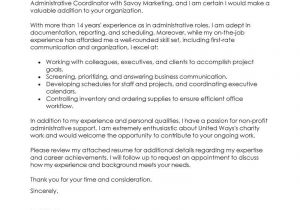 Administration Support Officer Cover Letter Administrative Coordinator Cover Letter Examples