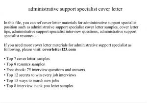 Administration Support Officer Cover Letter Administrative Support Specialist Cover Letter