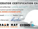 Aerial Lift Certification Card Template Certificates and Wallet Cards Hard Hat Training