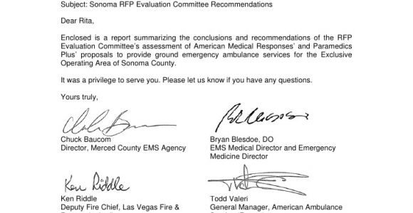 Ambulance Contract Template sonoma Rfp Evaluation Committee Recommendations