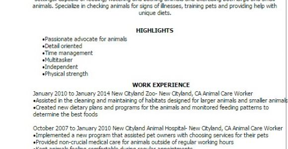 Animal Caretaker Resume Sample Professional Animal Care Worker Templates to Showcase Your