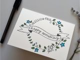 Anniversary Card for Parents Handmade Personalised Anniversary Floral Wreath Card Congratulate