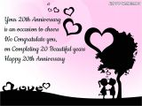 Anniversary Card Greetings to Wife Happy 20th Anniversary Wishes Quotes Messages