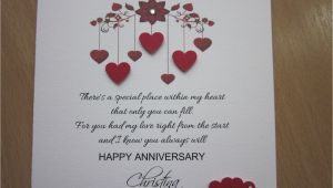 Anniversary Card Notes for Wife Details About Personalised Handmade Anniversary Engagement