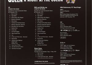 Anniversary Card Off the Queen A Night at the Odeon Hammersmith 1975 Limited Super Deluxe Edition Cd Dvd Sd Blu Ray 12 Single