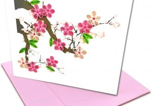 Anniversary Ke Liye Greeting Card Cherry Blossom Quilling Greeting Card 6×6 with Envelope Any Occasion Blank Inside Hand Made Suitable for Framing