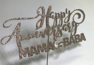 Anniversary Ke Liye Greeting Card Happy Anniversary Cake topper Mama Baba Cupcake topper