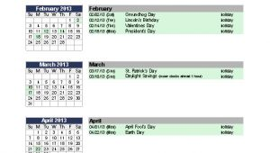 Annual Calendar Of events Template Excel Templates