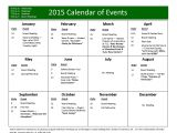 Annual Calendar Of events Template Yearly events Calendar Templates Free Printable