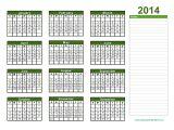 Annual Calendar Template 2014 Yearly Calendar 2014 Printable Calendar 2014 Blank