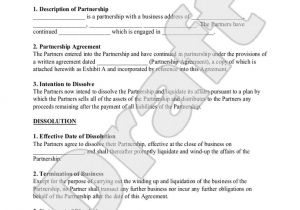 Antenuptial Contract Template Partnership Dissolution Agreement form with Sample
