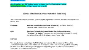 App Development Contract Template Agreement Sample Between iPhone App Developers and