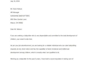 Applying for A Nanny Position Cover Letter 4 Nanny Cover Letters Sample Templates