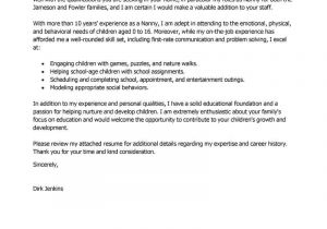 Applying for A Nanny Position Cover Letter Best Nanny Cover Letter Examples Livecareer