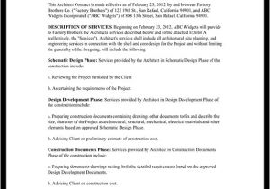 Architect Contract Template Architect Contract Agreement for Client Individuals with