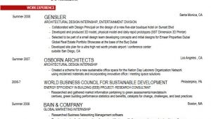 Architecture Student Resume Career Services Sample Resumes for Penndesign Students