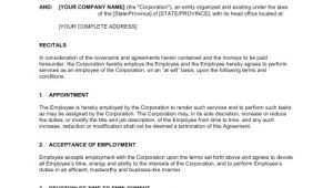 At Will Employment Contract Template Employment Agreement at Will Employee Template Sample