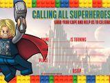Avengers Happy Birthday Card Template Free Lego Thor Birthday Invitation Template Superhero