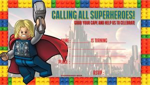 Avengers Happy Birthday Card Template Free Lego Thor Birthday Invitation Template Superhero