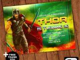 Avengers Happy Birthday Card Template Thor Ragnarok Invitation with Free Thank You Card Birthday